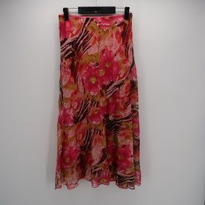 Metro Wear Floral Pleated Flowy Long Maxi Skirt